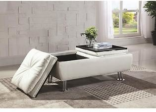 White Storage Ottoman with Flip-Over Serving Trays OTTOMAN NEW Living Room Furniture