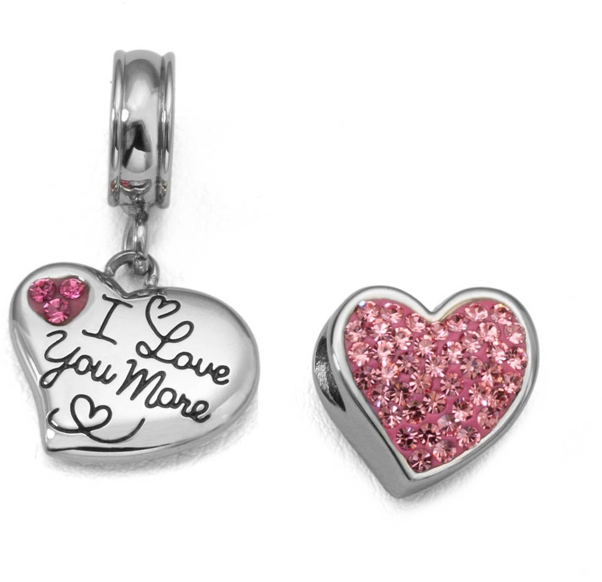 Connections From Hallmark - Pink Crystal Stainless Steel I Love You More Heart Charm Set