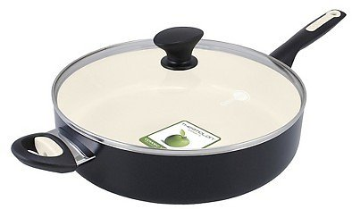 GreenPan Rio 5qt Ceramic Non-Stick Covered Saute Pan with Helper Handle Black