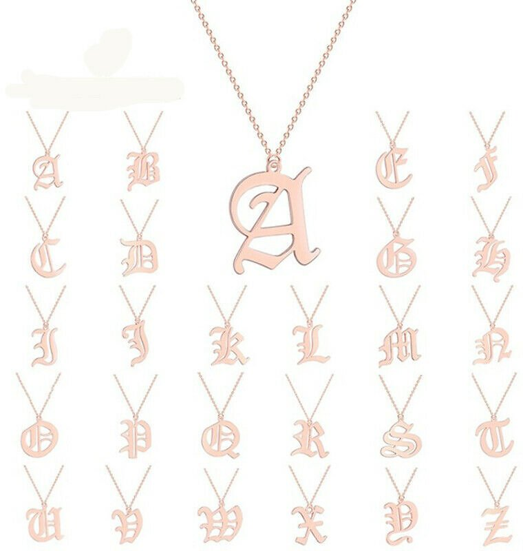 Old English Capital Initial A-Z Letter Name Pendant Necklaces Women Men Jewelry