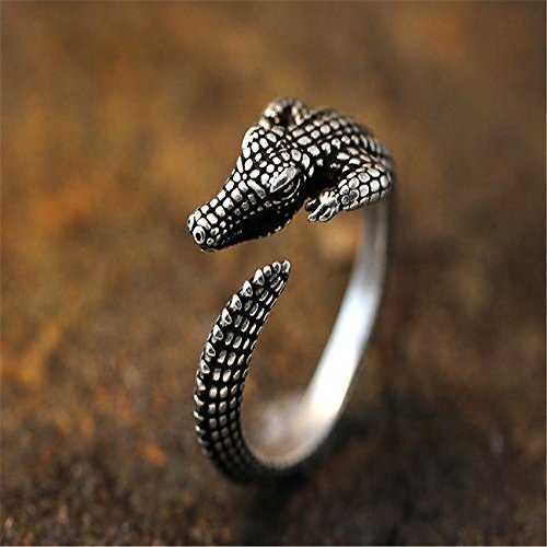 Adjustable Retro Crocodile Ring Alligator Antique Silver Tone Animal Ring Jewelry: Jewelry