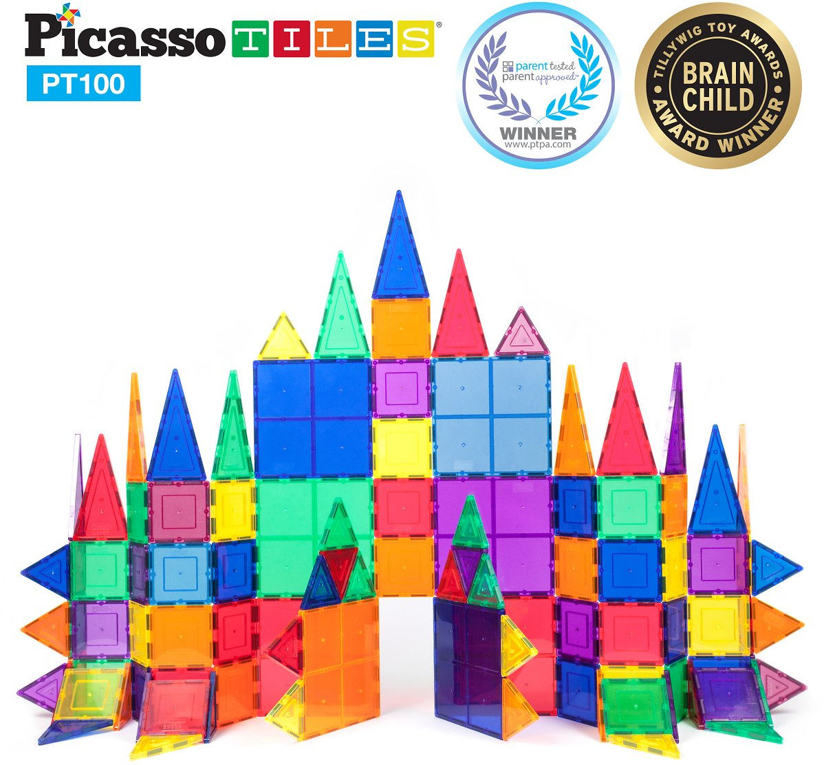 Picasso Tiles 100 Pc 3D Color Magnetic Building Block STEM Set