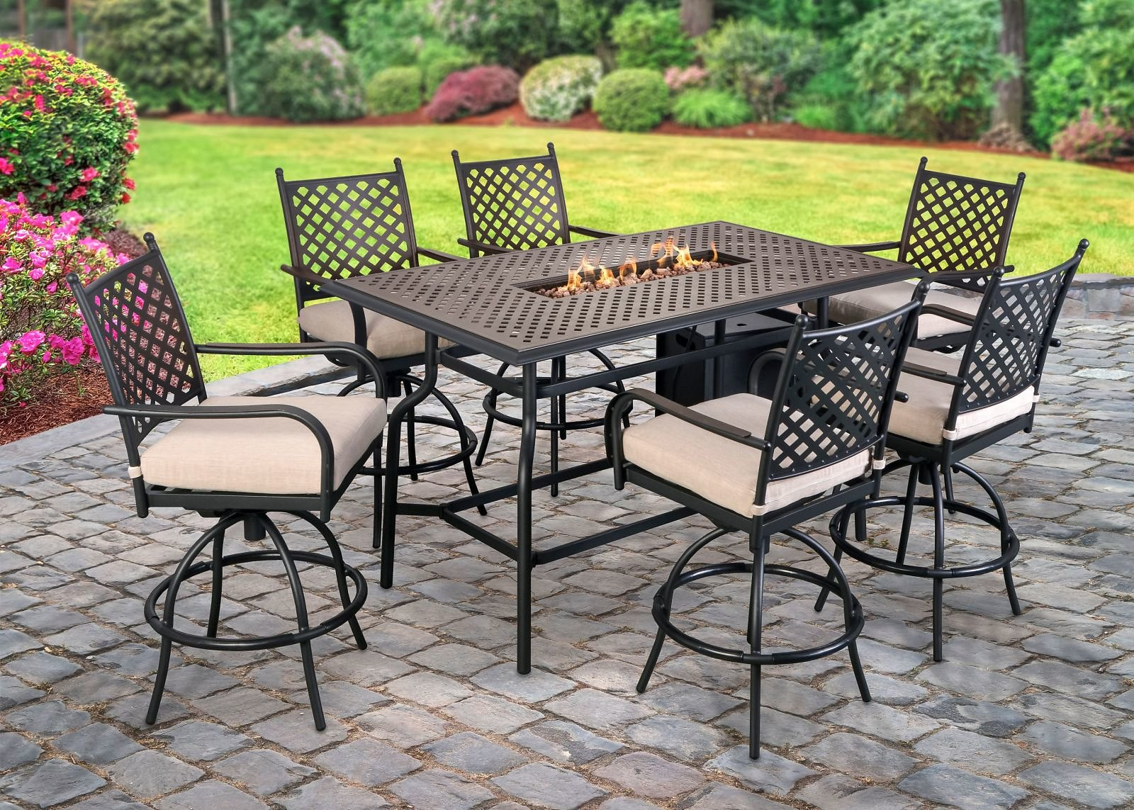 Berkley Jensen Westland 8-Pc. High Dining Set with Fire Table - BJs WholeSale Club