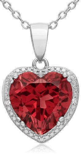 SuperJeweler 5 1/2 Carat Created Ruby & Diamond Heart Necklace Crafted in Sterling Silver 18 Inches