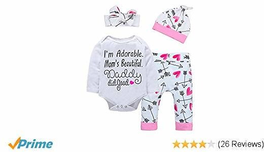 Baby Girl Clothes Cute Letter Romper + Arrow Heart Pants + Headband + Hat Happy Father's Day Outfits 4pcs
