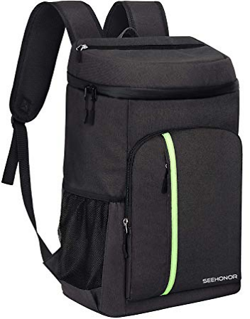 SEEHONOR Insulated Cooler Backpack Leakproof Soft Cooler Bag Lightweight Backpack with Cooler for Lunch Picnic Hiking Camping Beach Park Day Trips, 30 Cans (Black) : Sports & Outdoors