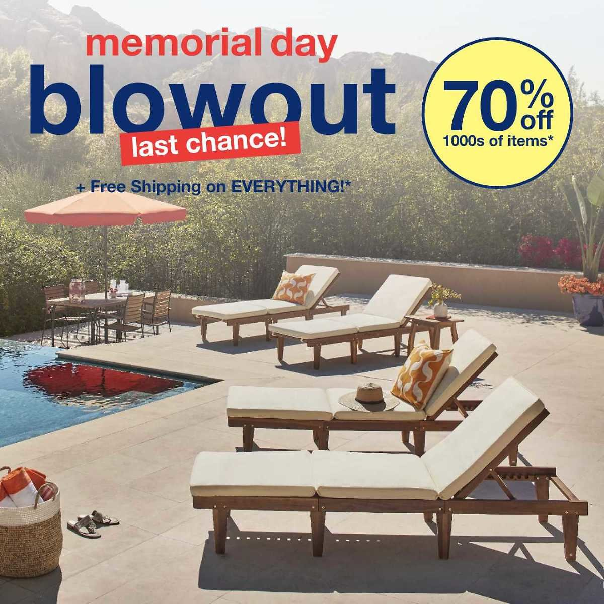 70% Off Memorial Day Blowout Sale