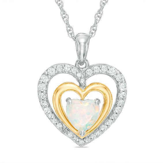 6.0mm Heart-Shaped Lab-Created Opal and White Sapphire Pendant in Sterling Silver with 14K Gold Plate