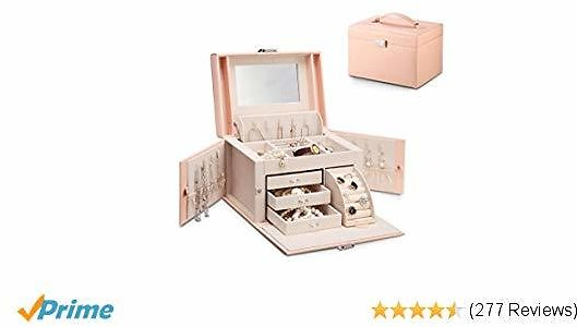 Vlando Jewelry Box, Faux Leather Medium Jewelry Organizer, Vintage Gift for Women -Pink-Cross Pattern