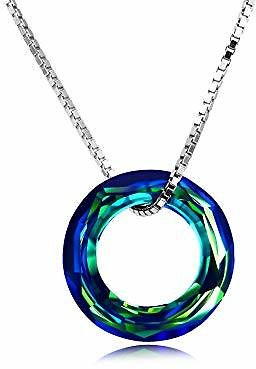 AOBOCO 925 Sterling Silve Necklace with Swarovski Crystals Jewelry for Women Girl (Volcano Crystal Circle Necklace): Jewelry