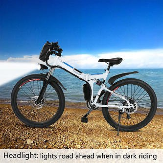 New_Fashion888 (Deals Ends Soon) Outdoor Bicycle 26 Inch 36V Foldable Electric Mountain Bicycle Lithium-Ion Battery With Bags