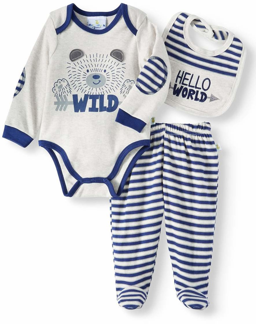 Duck Duck Goose - Baby Boys' Bodysuit, Pants and Cap or Bib, 3-Piece Outfit Set