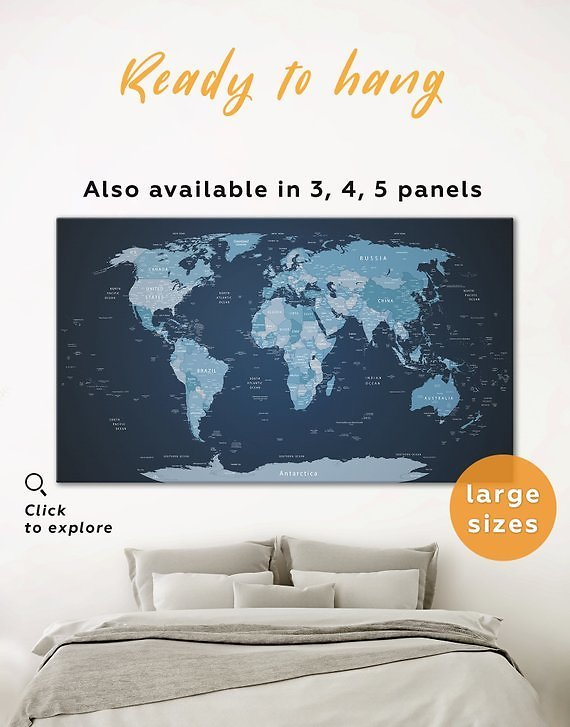 Blue World Map Canvas Push Pin Map Navy Blue World Map Wall Art Blue Background World Map Blue and White World Map Canvas Map of World Blue