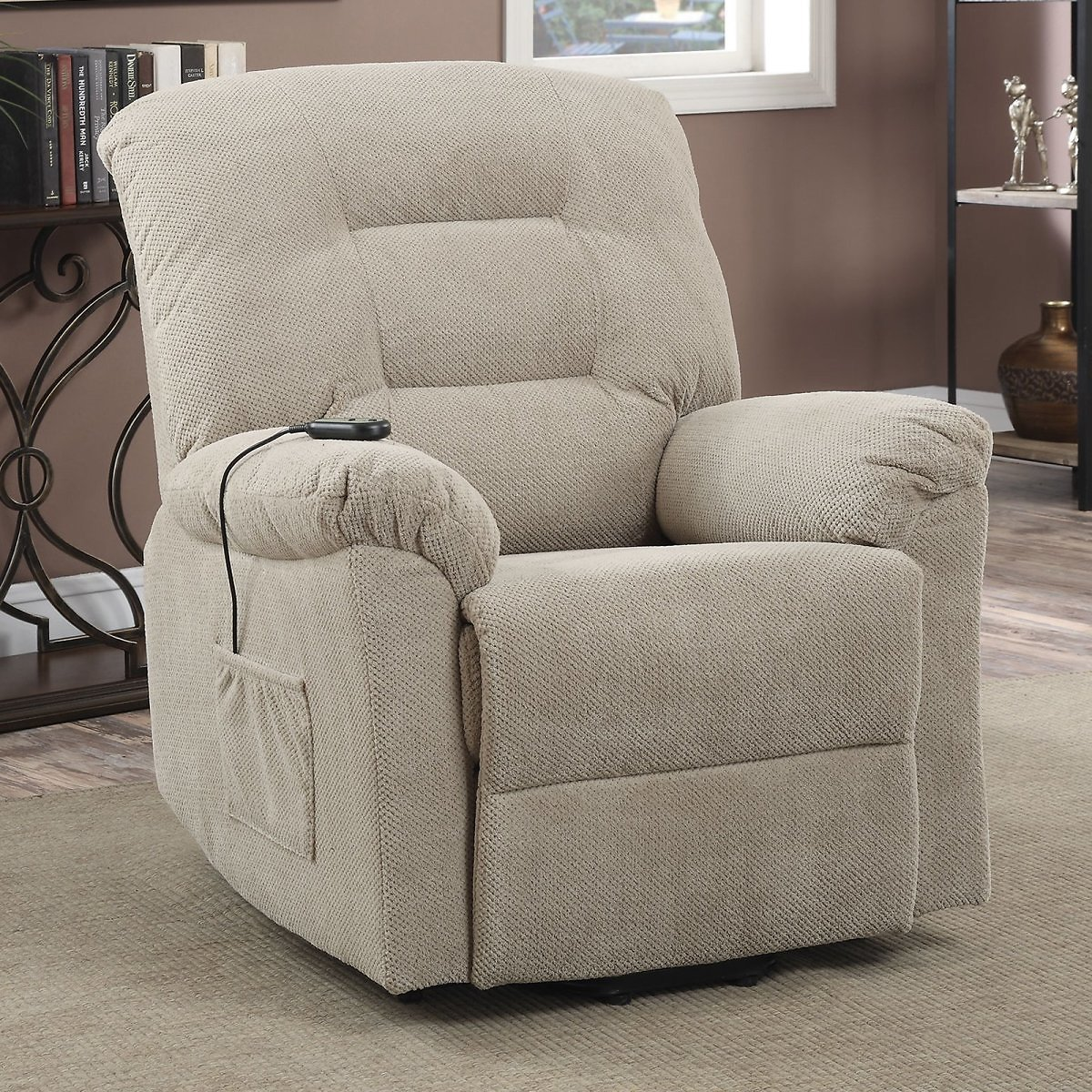 (Ships Free) Coaster Power Lift Recliner, Taupe Textured Chenille