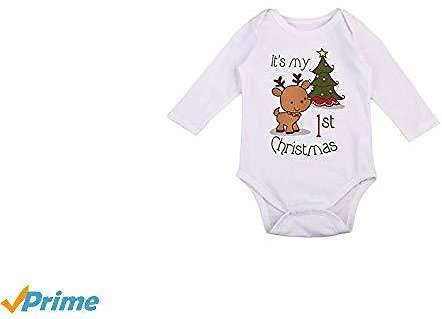 Imcute Inflant Unisex Baby Boys Girls First Christmas Cotton Deers Tree Christmas Romper Jumpsuit Outfit