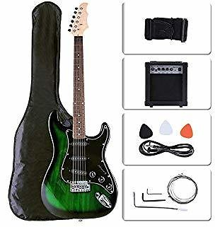 LAGRIMA 39 Inch Full Size Electric Guitar with 15w Amp for Beginner Starter, Package Includes All Accessories, Tuner, Strings, Picks, Shoulder Strap, and Bag, Green