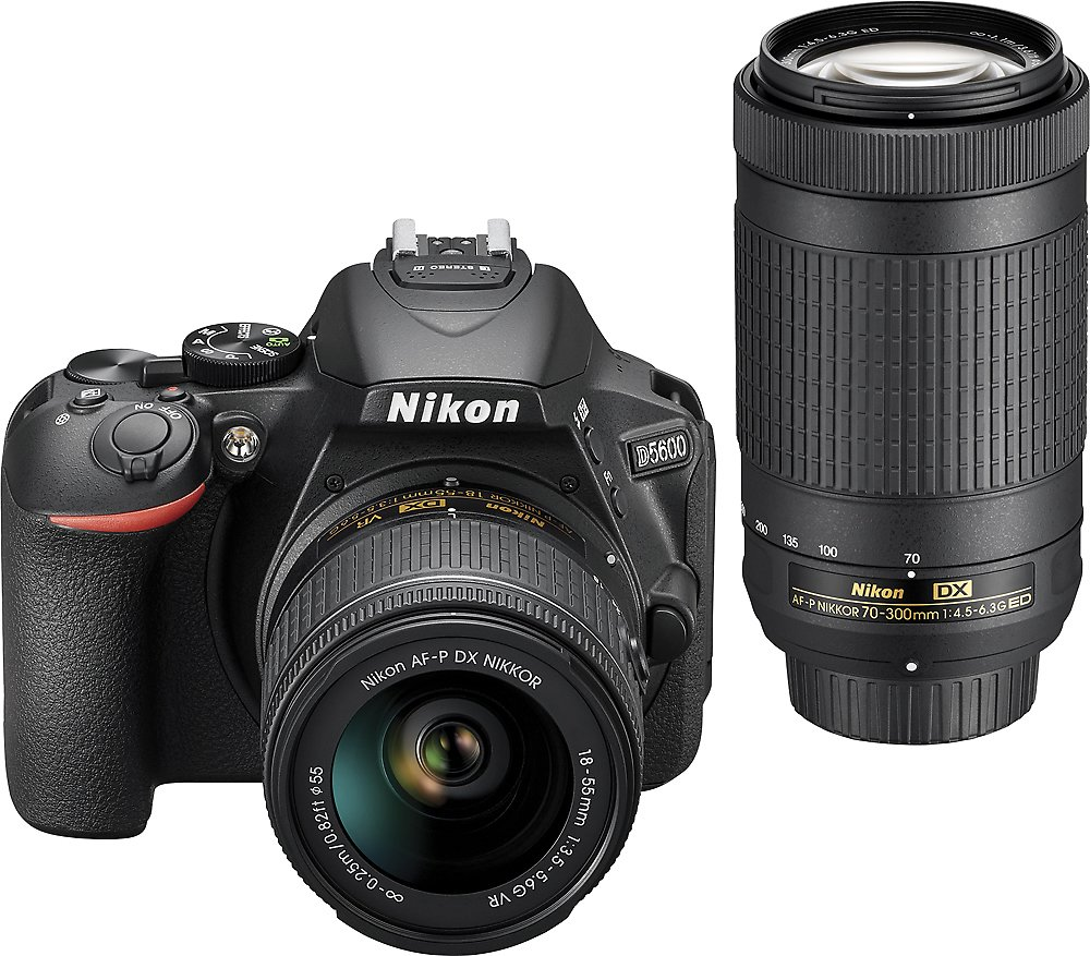 Save $200 On Nikon D5600 DSLR Camera with 18-55mm and 70-300mm Lenses Black