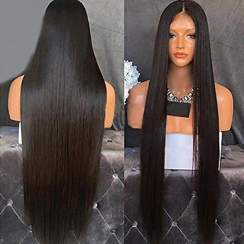 Heat Resistant Fiber Hair Synthetic Wig Mermaid Black Color Silk Straight Synthetic Lace Front Wigs for Black Women