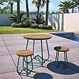PHI VILLA Outdoor Patio Metal 3 Piece Bistro Furniture Set with 2 X Chair,1 X Table: Home & Kitchen