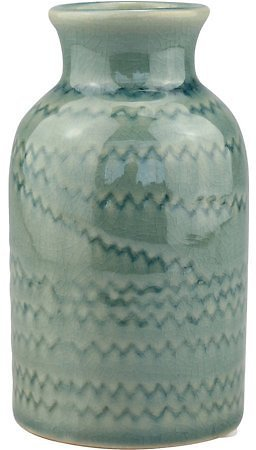 Ceramic Worn Turquoise Small Vase with Detail