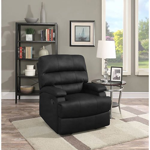 Relax A Lounger Joyce Traditional Faux Leather Recliner Chair - Black