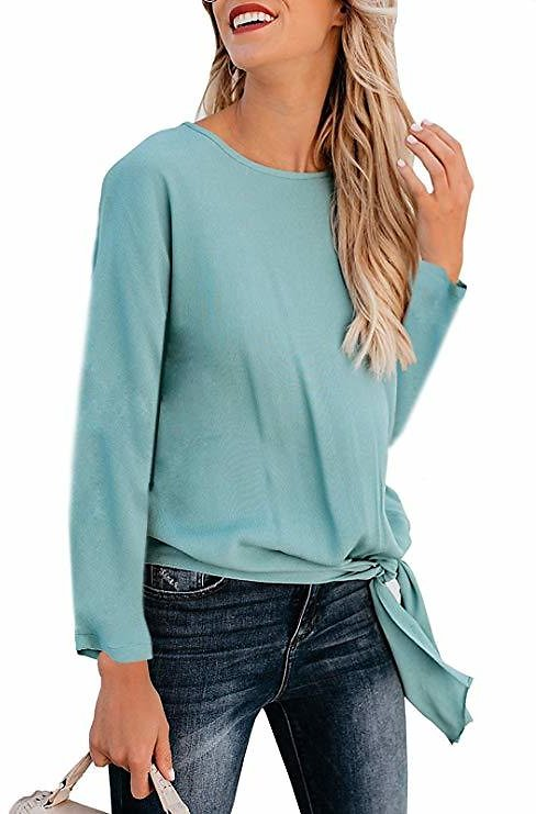 Kigod Women's Casual Crew Neck Knot Tie Front Blouse Solid Loose Fit Long Sleeve Tee Top T-Shirt Blouses (Blue, Small) At Amazon Women's Clothing Store: