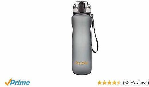 Sports Water Bottle 35oz 1000ml-Leak Proof Lid Bottle with BPA Free Tritan Plastic Water Bottles for The Gym,Yoga,Running,Outdoors, Cycling and Camping (Travel Water Bottle Gray)