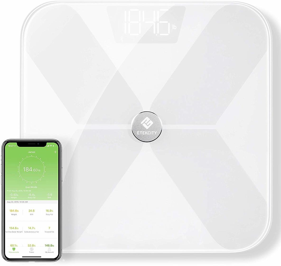 Etekcity Digital Wireless Bluetooth Smart Body Fat Scale with 13 Essential Measurements and ITO Conductive Glass