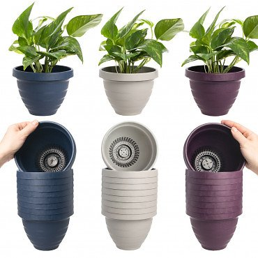 """10pk Self-Watering Easy Care 6"""" Planter Pots By HC Companies"""