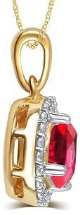 Diamond Princess Elegant 0.38 Cttw Created Ruby & White Sapphire Pendant Necklace In 14K Yellow Gold Plated