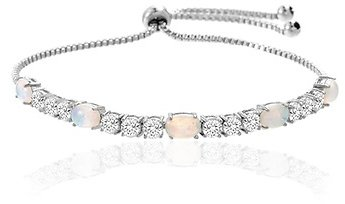 Fiery Opal Adjustable Tennis Bracelet Made with Swarovski Elements in Gold Plating By Nina Grace