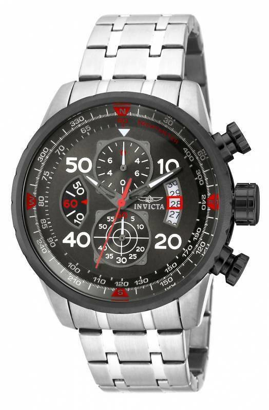 Invicta 17204 Men's Aviator Chronograph Gunmetal Dial Steel Bracelet Watch 886678210244