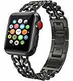 AmzAokay Replacement Bands Compatible for Apple Watch 38mm 42mm Stainless Steel Metal Cowboy Chain Strap Wrist Band for Apple Watch 40mm 44mm Series 4 3 2 1 Sport and Edition : Sports & Outdoors