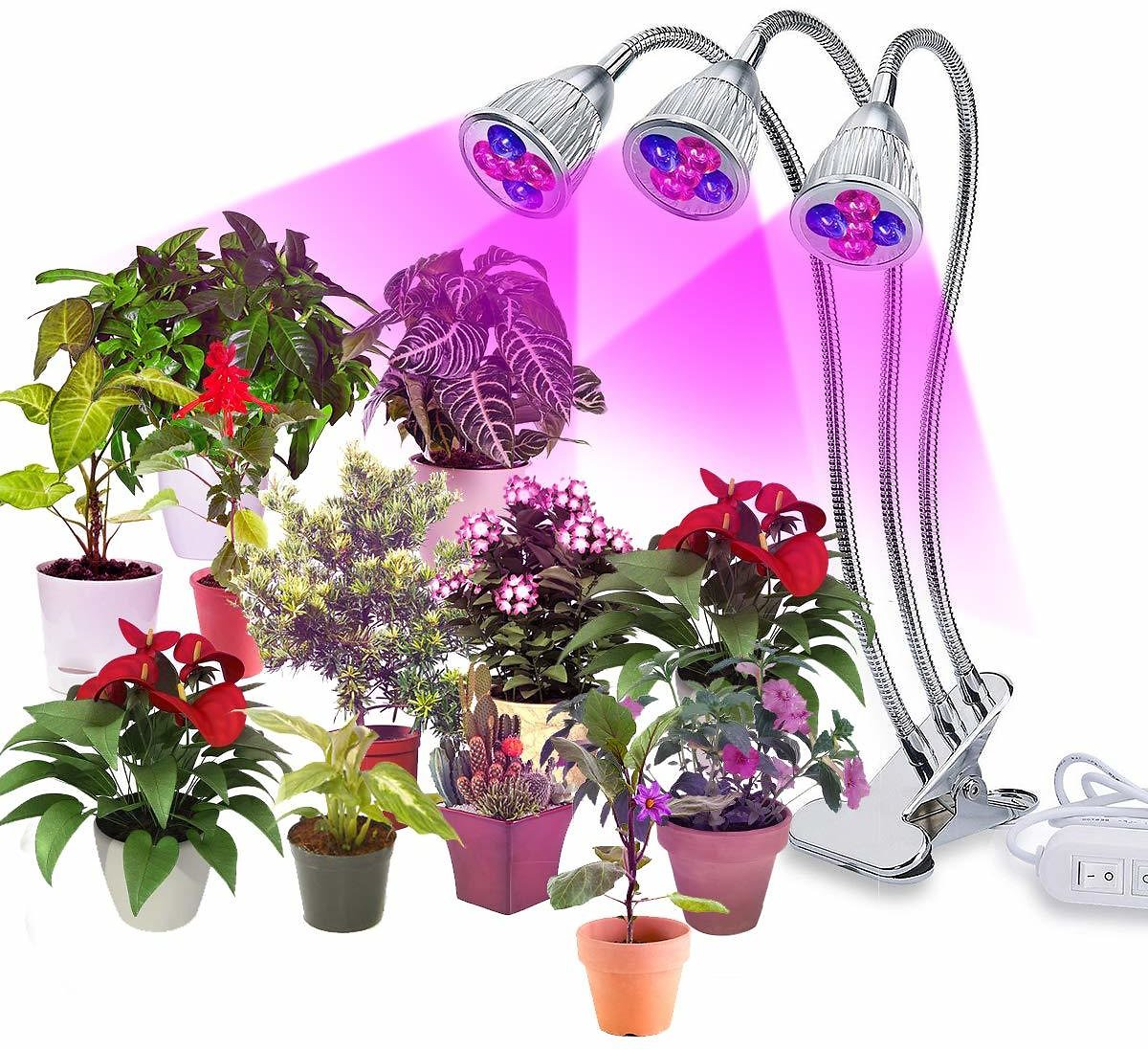 Three Head Led Grow Light Bulbs 15W 15 Bulbs Clip On Plant Grow Lamp with Flexible 360 Degree Gooseneck and Three Separate Control Switches for Indoor Plants Hydroponics Greenhouse Organic Office Home : Ustyle