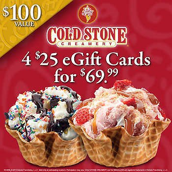 Cold Stone Creamery Four $25 E-Gift Cards