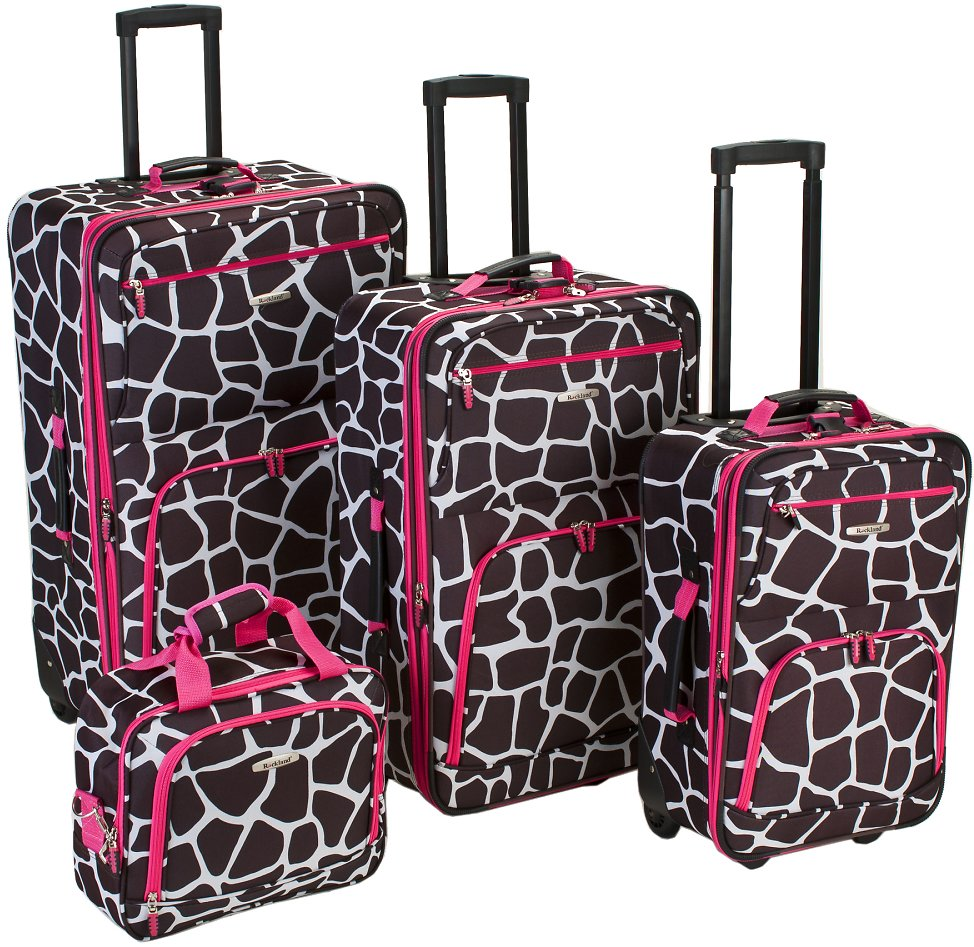 Rockland Luggage Fashion Collection 4 Piece Softside Expandable Luggage Set - 3 Colors