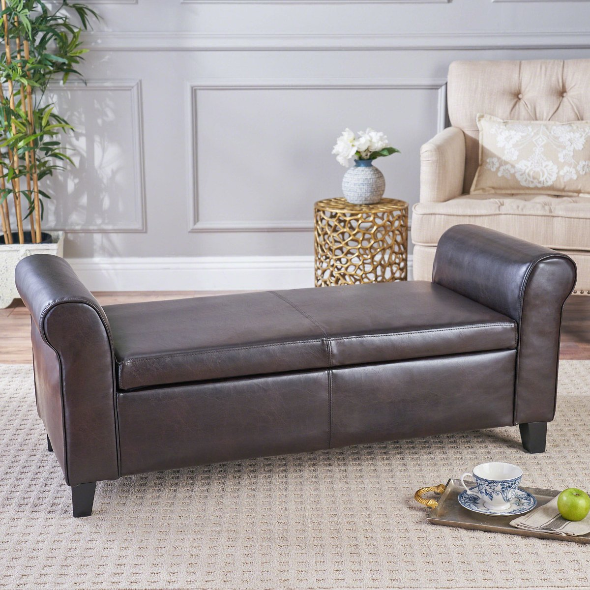 Price Drop! Noble House Haden Armed Brown Faux Leather Storage Bench + F/S