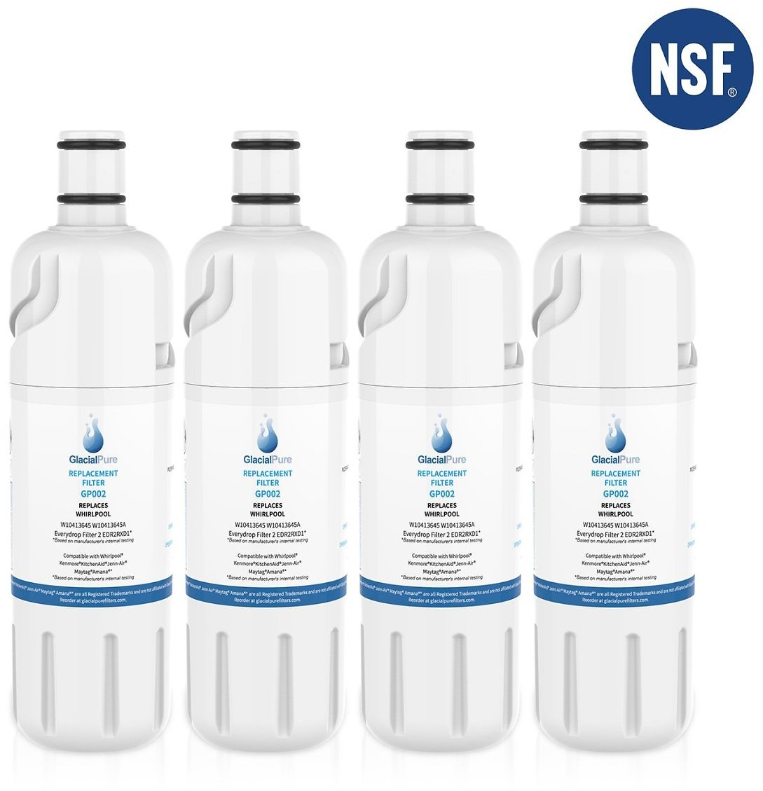 W10413645A Water Filter, EDR2RXD1, Kenmore 9082, Whirlpool Water Filters For Refrigerator Water Filters Replacement (4 Pack)
