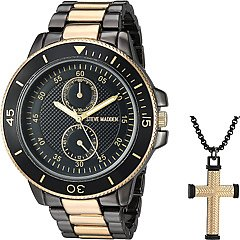 Steve Madden Multifunctional Watch with Cross Pendant Necklace Set SMWS034
