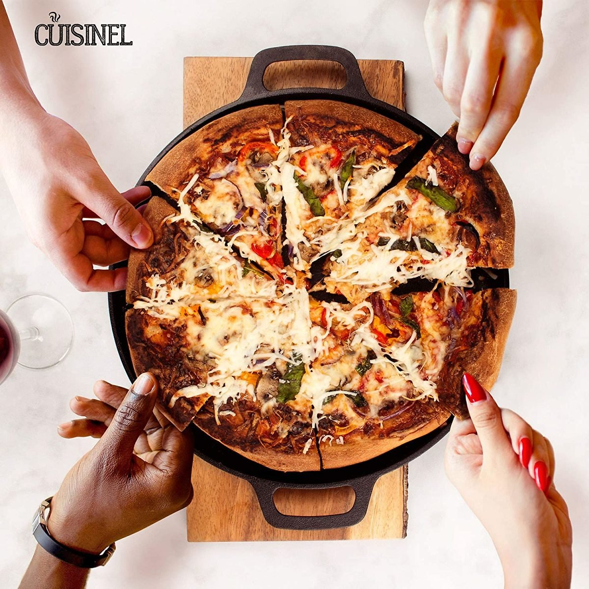 Cuisinel Cast Iron Pre-Seasoned Pizza Pan