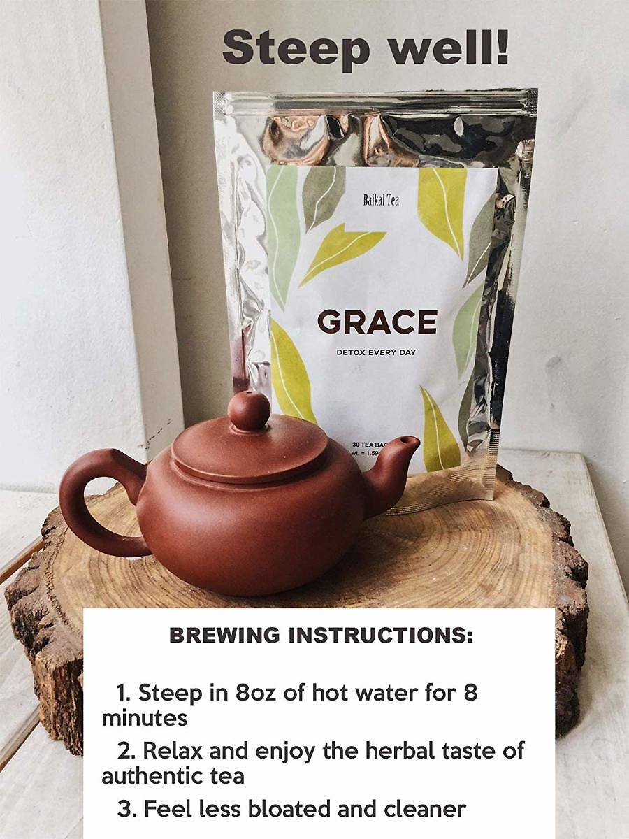 Grace Herbal Tea 30ct - Gentle Natural Detox and Cleanse - Wild Organic Senna and Immortelle - Herbal Alternative to Doubtful Detox Pills, Diets and Weight Control Medicine - Decaf, Great Herbal Taste : Grocery & Gourmet Food