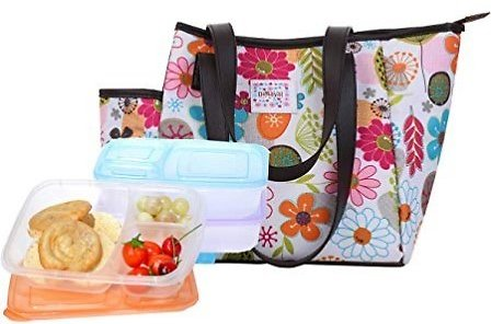 Dimayar Bento Lunch Box 3 Pieces 1 Insulated Lunch Bag By Lunch Bags for Women Insulated Bento Lunch Bag, Full Zipper Closure Lunch Bags: Kitchen & Dining