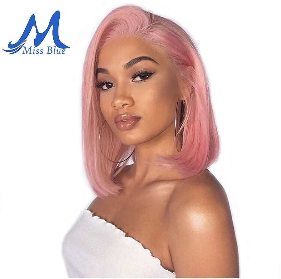 Lace Front Human Hair Wigs For Black Women Straight Ombre Short Bob Wig Pre Plucked 613 Blonde Pink Blue Burgundy 99J
