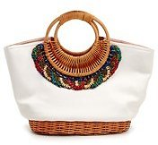 Rattan Handle Beaded Canvas Tote