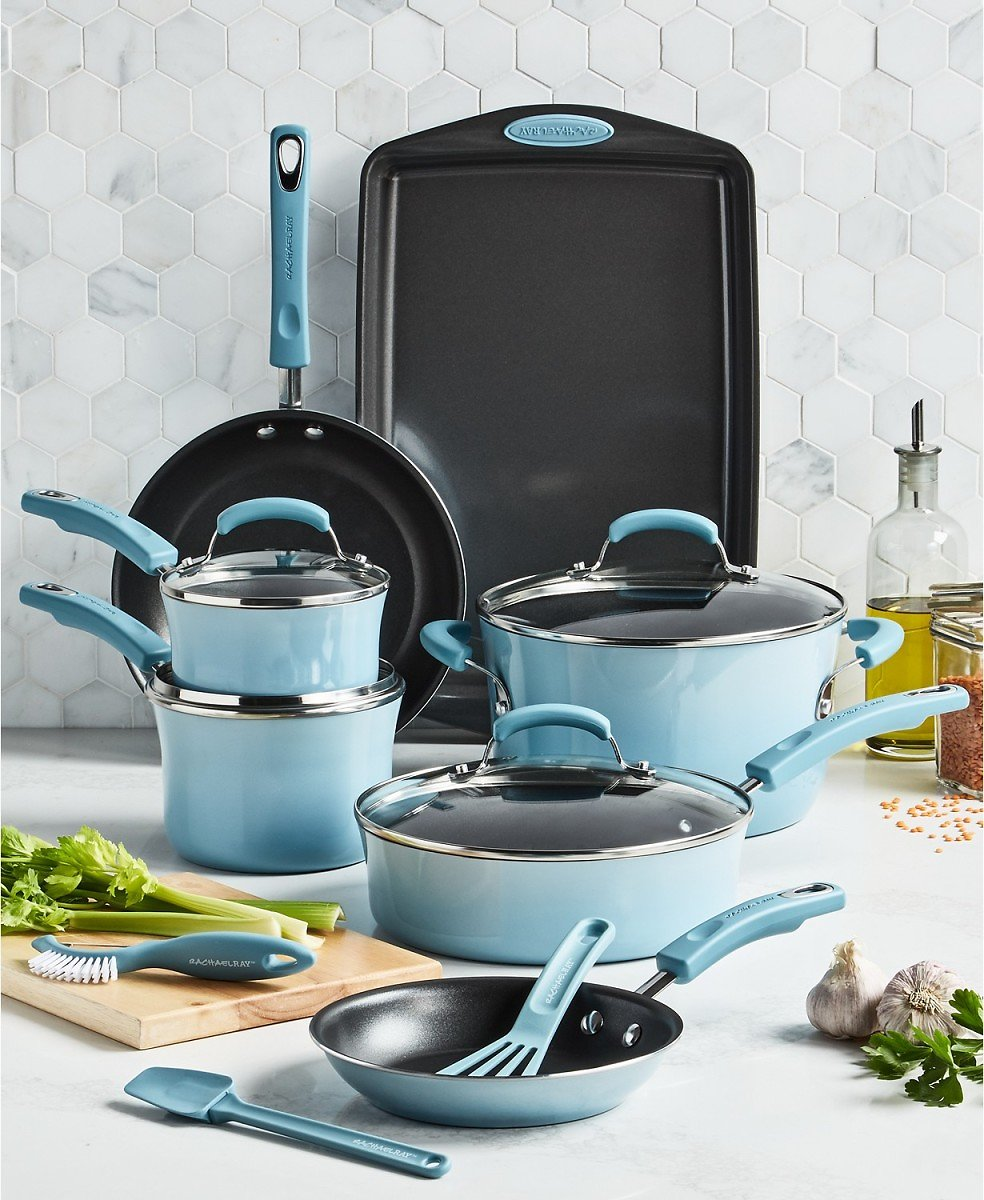 Rachael Ray 14-Pc. Nonstick Cookware Set (2 Colors) + F/S