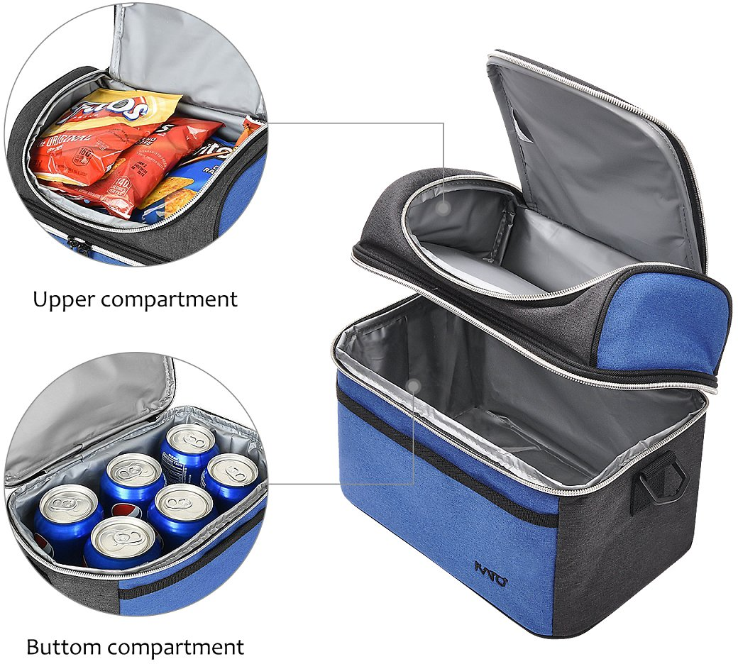 Compact Insulated Lunch Bag Thermos Bento Container Cooler Tote Dual Compartment with Shoulder Strap and Front Pocket