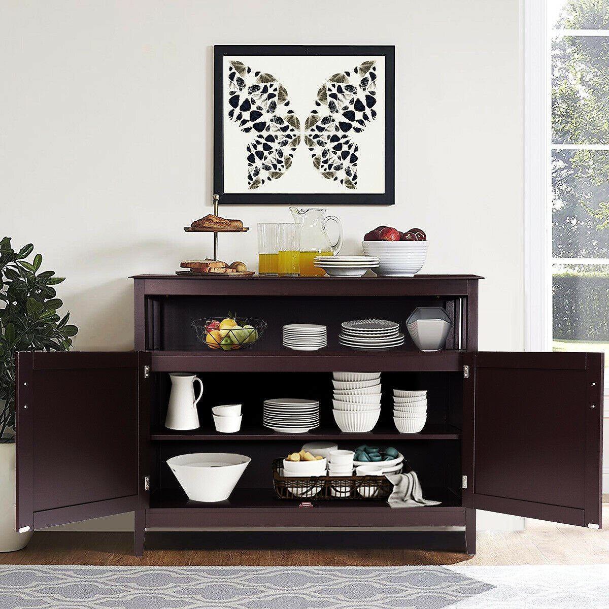 Costway Modern Kitchen Storage Cabinet Buffet Server Table Sideboard Dining Wood Brown