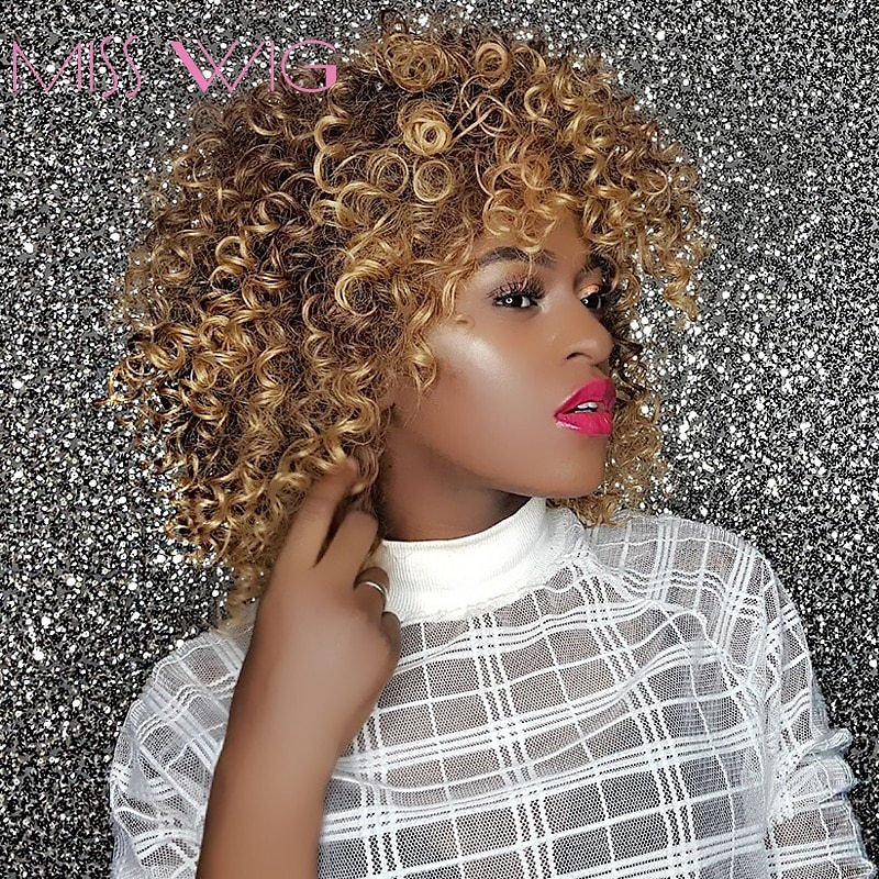 16Inches Long Afro Kinky Curly Wigs for Black Women Blonde Mixed Brown Synthetic Wigs African Hairstyle Heat Resistant