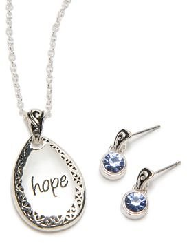 Kim Rogers® Silver Tone Hope Necklace and Earring Set