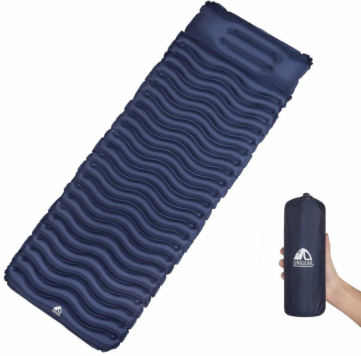 Unigear Inflatable Sleeping Air Pad, Compact Air Camping Mat, Ultralight Camping Mattress and Pillow for Backpacking, Hiking and Traveling